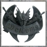 "AWESOME DRAGON WALL PLAQUE ""ALL DRAGONS WELCOME"" SCULPTURE BRAND NEW & BOXED"